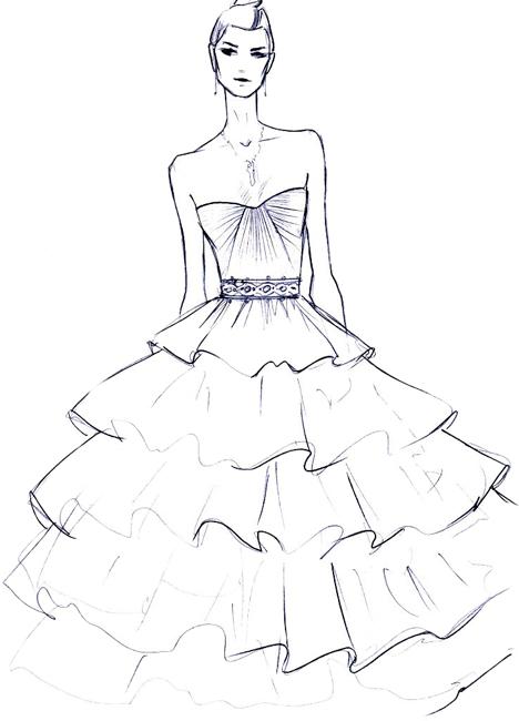 Эскизы девушек для платьев